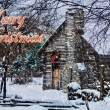 Snowy Winter Log Cabin Christmas Card — Stock Photo #39007569