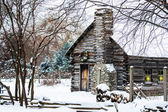 Snowy Winter Log Cabin — Stock Photo