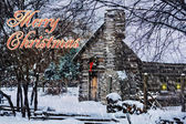 Snowy Winter Log Cabin Christmas Card — Stock Photo