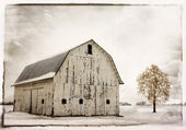 Snowy Winter Barn — Stock Photo