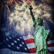 Statue of Liberty and Fireworks — Stock Photo #43758503