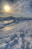 Sunries de invierno en el lago erie — Foto de Stock