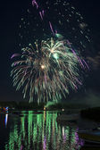 Fireworks On The River — Stock Photo