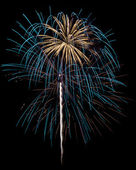 Cyan & White Fireworks Isolated — Stock Photo