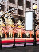 空のテンプレート レイアウト ビルボード クリスマス照らされた通り. — ストック写真