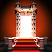 Red carpet way to classical portal. — Stock Photo