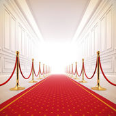 Red carpet path to success light. — Stock Photo