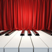 Piano Keys and red curtains. — Stock Photo