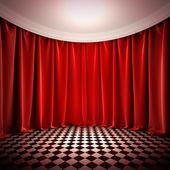 空荡的大厅与红色窗帘. — 图库照片