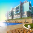 Swimming pool and modern hotel. — Stock Photo