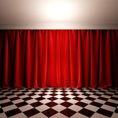 Empty scene with red velvet curtain. — Stock Photo
