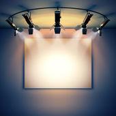 Empty picture illuminated by spotlights. — Stock Photo
