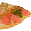 Pancake with a salmon — Stock Photo