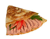 肉のペースト、トマトをパンケーキします。 — ストック写真
