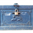 Old vintage metal box with pad lock — Stock Photo