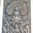 Stock Photo: Ancient old vintage buddhsculpture on wall