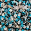 Very dirty blue PVC pipe stack together — Stock Photo