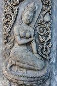 Escultura de buda antiga velho vindima na parede — Foto Stock