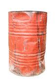 Tambor de aceite oxidado y dañado sucio rojo — Foto de Stock