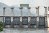 Medium size dam with metal water gate in Thailand — Stock Photo