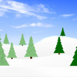 Winter landscape with fir-trees — Stock Photo