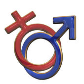 Male and female signs. Three dimensional render. — Stock Photo