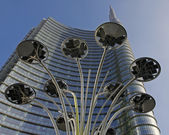 Modern led light and skyscraper in Milan,Italy — Stock Photo