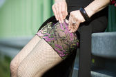 Fishnet stockings — Stock Photo