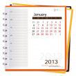 Stock Vector: 2013 calendar notebook, January. Vector illustration.