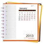 2013 calendar notebook, January. Vector illustration. — Stock Vector