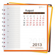 2013 calendar notebook, August. Vector illustration. — Stock Vector