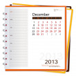 2013 calendar notebook, December. Vector illustration. — Stock Vector