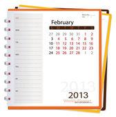 2013 calendar notebook, February. Vector illustration. — Stock Vector