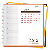2013 calendar notebook, July. Vector illustration. — Stock Vector
