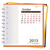 2013 calendar notebook, October. Vector illustration. — Stock Vector