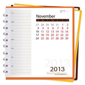 2013 calendar notebook, November. Vector illustration. — Stock Vector