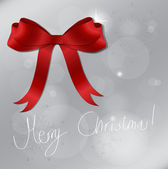 Light silver abstract Christmas background with Shiny red satin — Stockvector