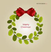 Abstract Christmas background with Christmas wreath, vector illu — Stock Vector