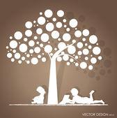 Sfondo vettoriale con bambini legge un libro sotto l'albero. i vector — Vettoriale Stock