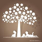 Vector background with children read a book under tree. Vector I — Stockvektor