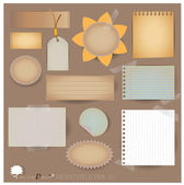 Vector set: Vintage postcard, and blank paper designs. (variety — Stock Vector
