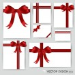 Big set of red gift bows with ribbons. Vector illustration. - 图库矢量图片