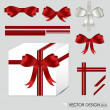 Big set of red gift bows with ribbons. Vector illustration. - Stock vektor