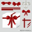 Big set of red gift bows with ribbons. Vector illustration. — Stok Vektör