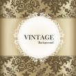 Seamless retro pattern background with vintage label. Vector ill — Stock Vector