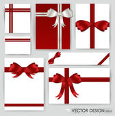 Big set of red gift bows with ribbons. Vector illustration. — Stock Vector