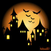 Halloween background with haunted house, bats and full moon, vec — Stock Vector