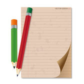 Pencil and vintage paper, ready for your message. Vector illustr — Stock Vector