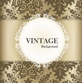 Seamless retro pattern background with vintage label. Vector ill — Vettoriale Stock