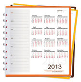 2013 calendar notebook, vector illustration. — Stock Vector